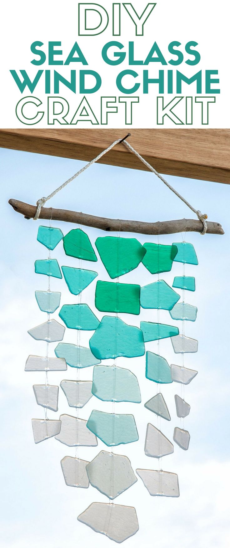 Create a handmade sea glass wind chime and enjoy the summer breeze. The craft kit includes all the supplies you need. A simple DIY craft tutorial idea.