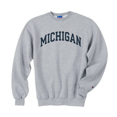 michigan gray sweatshirts | Champion University of Michigan Oxford Gray Basic Crewneck Sweatshirt