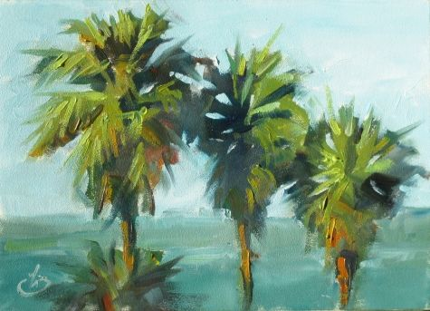 Palm tree paintings | CALIFORNIA PALM TREES, 5x7 OCEAN COASTAL SCENE, PLEIN AIR OIL PAINTING ...