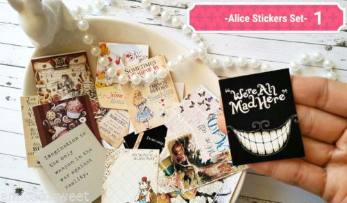 24xAlice in the wonderland Stickers,Planner stickers,Tea party Cute Stickers