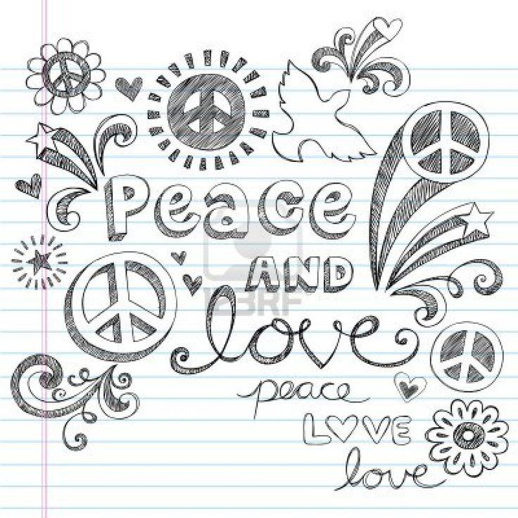 Peace & Love Sketchy Notebook Doodles elementos de diseño en papel rayado Sketchbook de fondo, ilustración vectorial Foto de archivo
