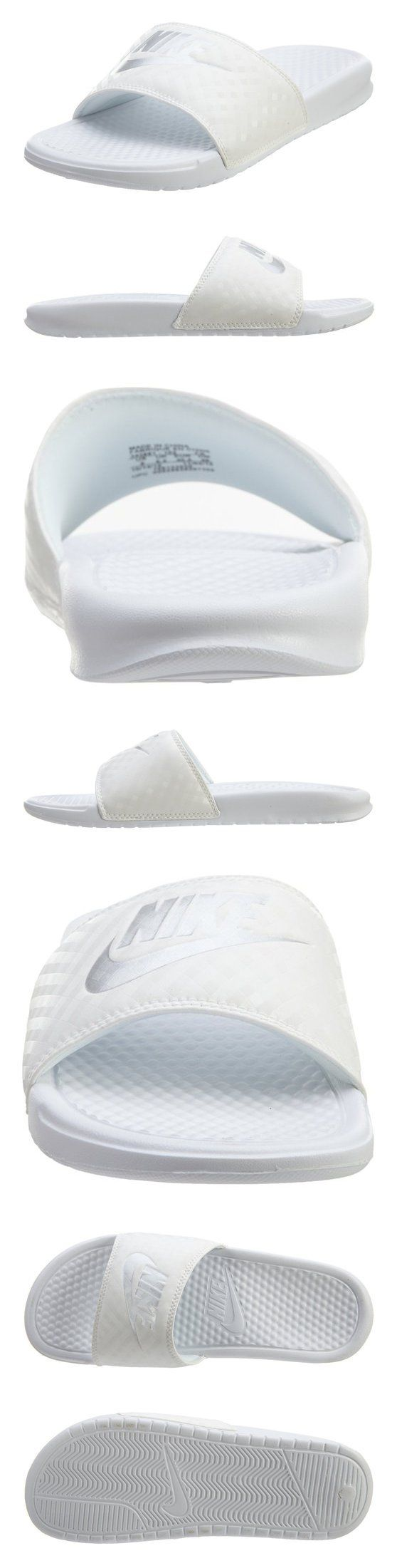$58 - Nike Benassi JDI Slide Women's Sandals 343881-102 White/Metalic Silver size 9 #shoes #nike #2009