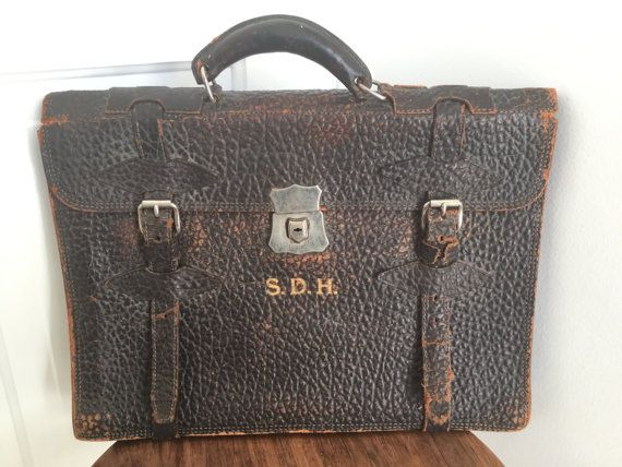 Vintage 1920s Lawyers Briefcase Legal Satchel Leather Classic