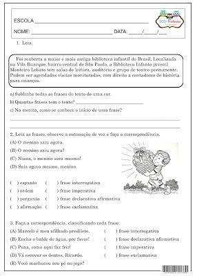 SOS PROFESSOR-ATIVIDADES: Tipos de frase