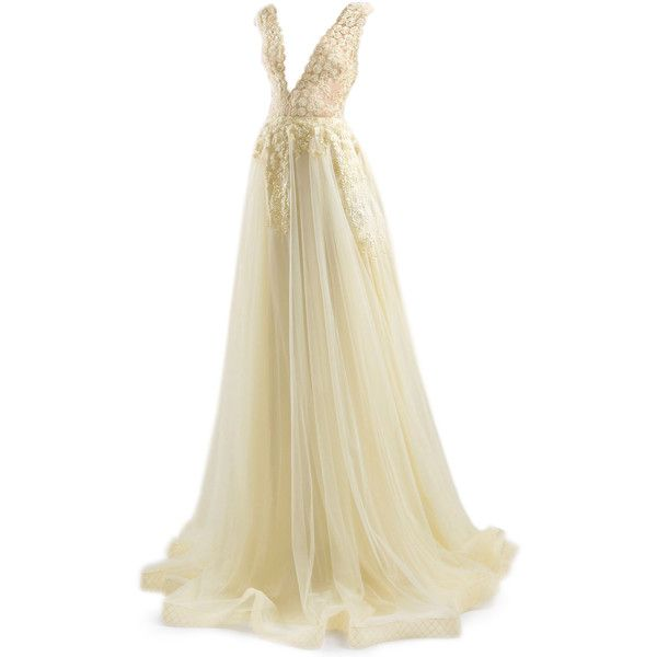 satinee.polyvore.com - Chrystelle Atallah ❤ liked on Polyvore featuring dresses, gowns, satinee gown, beige dress, beige gown, evening dresses, women dresses and henley dress