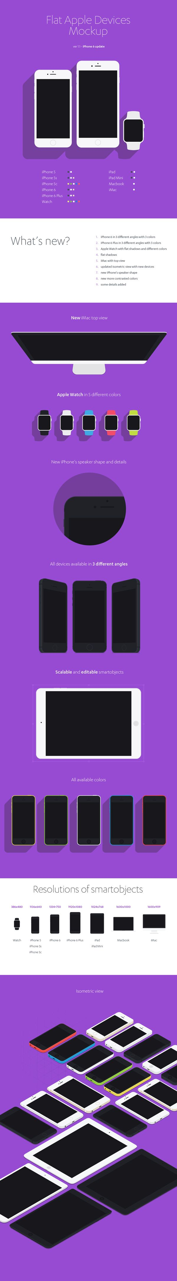 A huge collection of flat Apple devices mockups to showcase your responsive web designs. The PSD file includes...