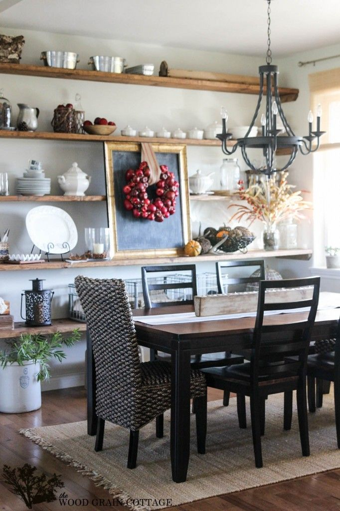 Perfect Fall Home Tour By The Wood Grain Cottage #EclecticallyVintage Gorgeous Dining  Room With Apple Wreath
