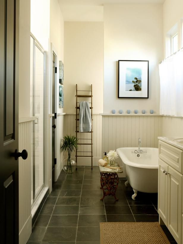 Does slate work with wainscoting bathroom redo 8x5 for Slate tile bathroom ideas