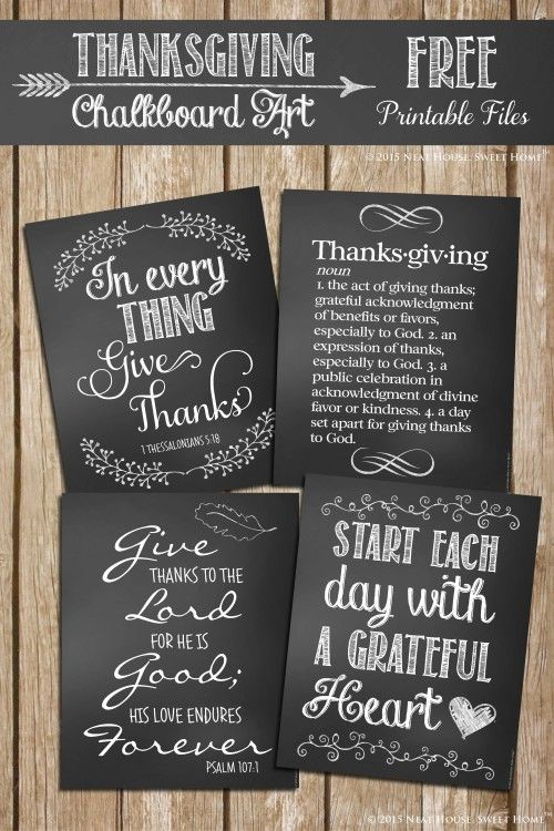Four beautiful Thanksgiving chalkboard art printables, and the story on how they came to be!
