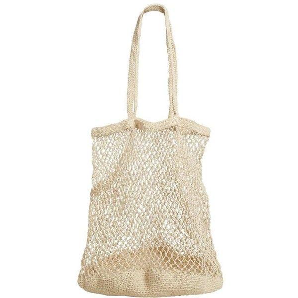 MANGO Net bag ($70) ❤ liked on Polyvore featuring bags, handbags, white bag, mango bags, netting bags, white handbag and mango handbags