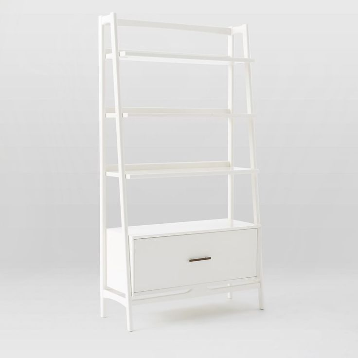 Mid Century Bookshelf Wide Tower, White