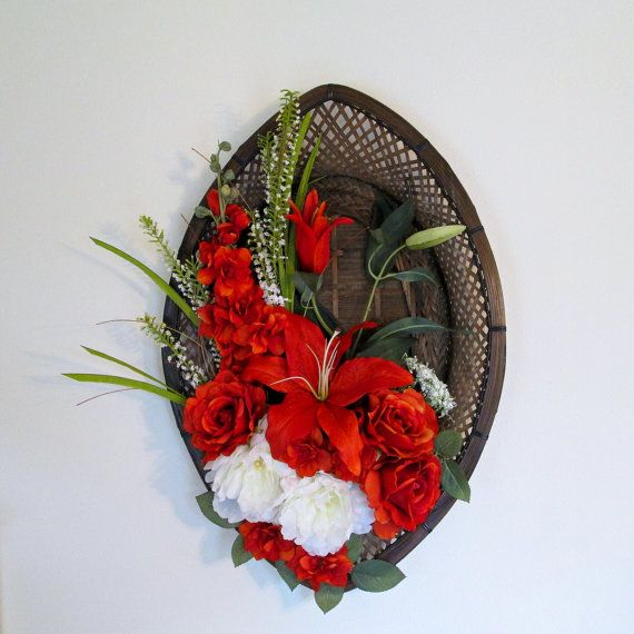 Burnt Orange And White Silk Flowers On A Wicker Wall Frame   Floral  Arrangement   Home