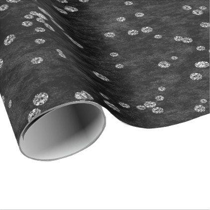 Diamonds Confetti Black White Velvet Elegant Wrapping Paper - wrapping paper custom diy cyo personalize unique present gift idea