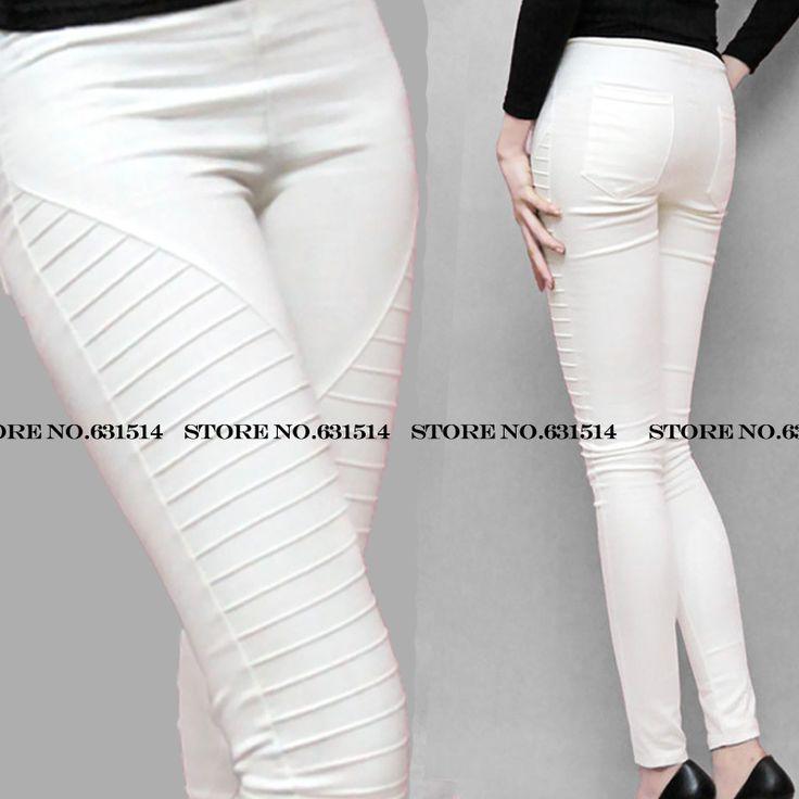 Finas azul / branco / verde / preto / vermelho / Khaki novo Plus size listrado bolso elástico caneleiras das mulheres casuais calças plissadas calças lápis em Calças de Roupas & acessórios no AliExpress.com | Alibaba Group