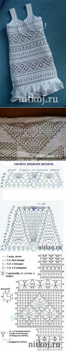 Филейное платье для девочки » Ниткой - вязаные вещи для вашего дома, вязание крючком, вязание спицами, схемы вязания