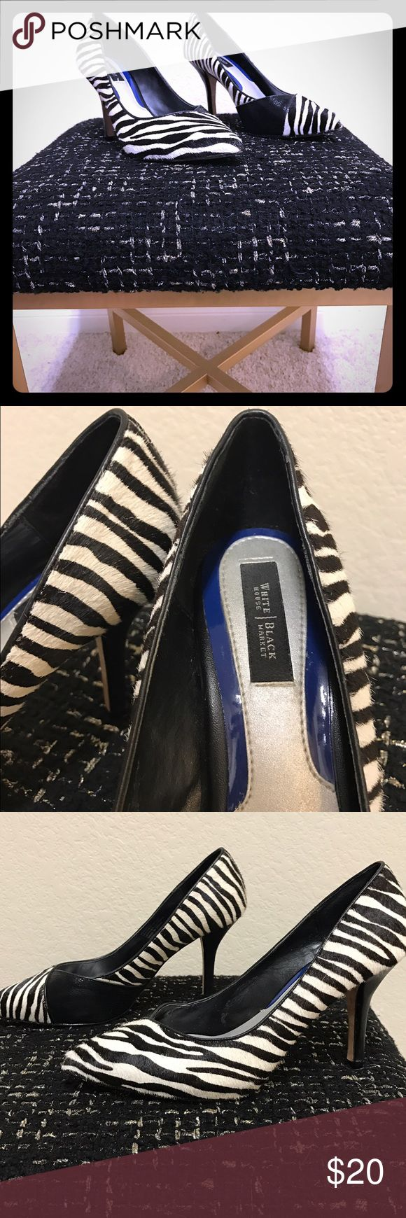 White House Black Market zebra heels Used but in great condition! Looks great with that little black dress! White House Black Market Shoes Heels