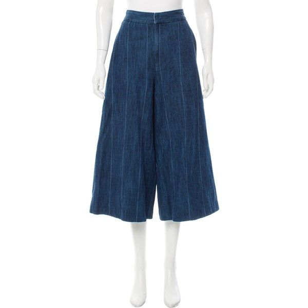 Pre-owned Adam Lippes Wide-Leg Denim Culottes (340 ILS) ❤ liked on Polyvore featuring pants, capris, blue, denim trousers, zip pants, striped trousers, stripe pants and pocket pants