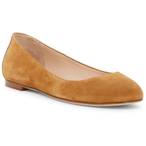 Sergio Rossi Ballerina Flat (325 CAD) ❤ liked on Polyvore featuring shoes, flats, camel, round toe flats, ballerina shoes, ballet shoes, round toe ballet flats and camel ballet flats