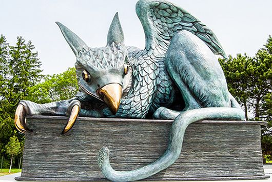Gryphon Statue at the entrance to the University of Guelph in Ontario. Conceived in the late 1950's, and installed in June of 2014. Wonder if the designers were aware that in heraldry, a winged gryphon represents the female of the species. Males were usually depicted wingless for some reason. Not that it matters, she's a very beautiful creature and seems quite content with her placement.