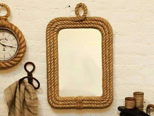 espejo decorado con soga