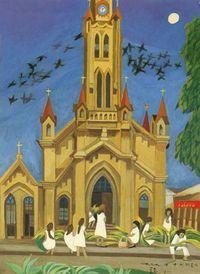 (Korea) Peru Iquitos,1979 by Chun Kyung-ja (1924-2015). 천경자. 페루 이키토스.