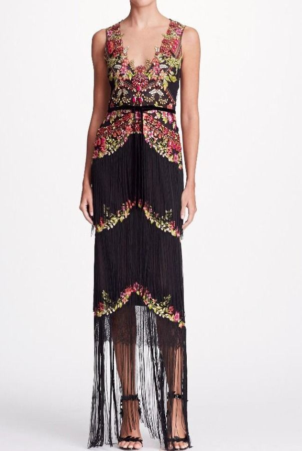 fa3901ec8866 Marchesa Notte Black Sleeveless Beaded Fringe Evening Gown Dress | Poshare