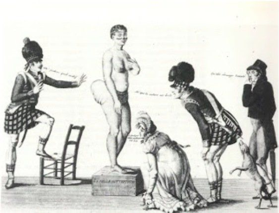"""Sarah/Saartjie Baartman was recruited by an exotic animal dealer from her home somewhere in S Africa. In Europe she was treated as a novelty due to a genetic mutation and her dark skin. Exhibited in cages, molested by """"scientists"""", and having to turn to prostitution just to feed herself, Sarah took to the bottle to cope.  She couldn't escape her poor treatment until nearly 200 years later, when her remains were returned home."""