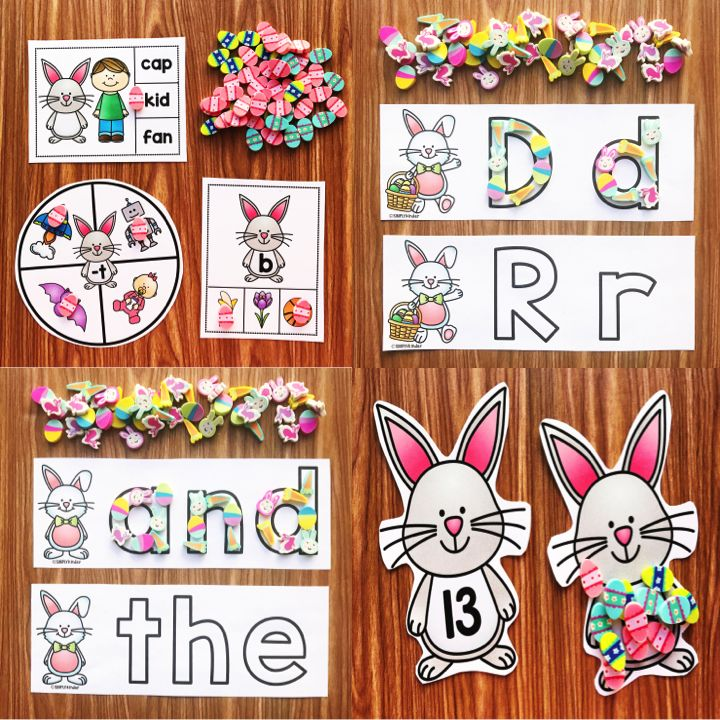 Easter Mini Eraser Activities from Simply Kinder.  Work on letters, words, counting, adding, subtracting, patterning, and so much more!