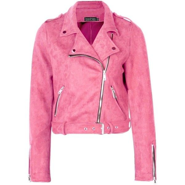 Boohoo Rebecca Premium Vegan Suede Biker Jacket ($52) ❤ liked on Polyvore featuring outerwear, jackets, bomber jackets, pink suede jacket, faux-leather moto jackets, pink jacket and biker jackets