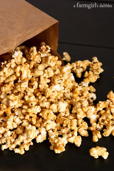 Microwave Caramel Popcorn, super easy and ultra delicious! from afarmgirlsdabbles.com