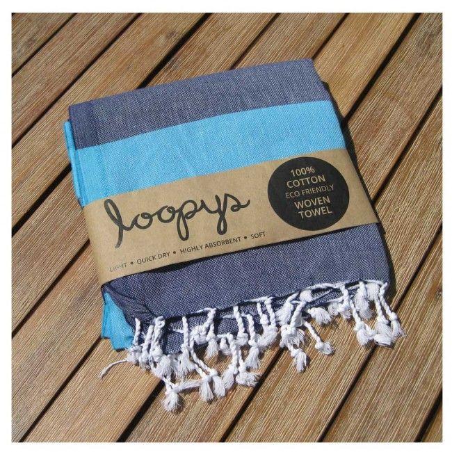 Navy/Ocean Blue Candy Stripe Turkish Towel Beach Hammam Peshtemal