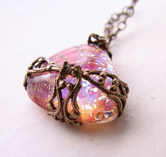 Pink Opal necklace with vintage art glass