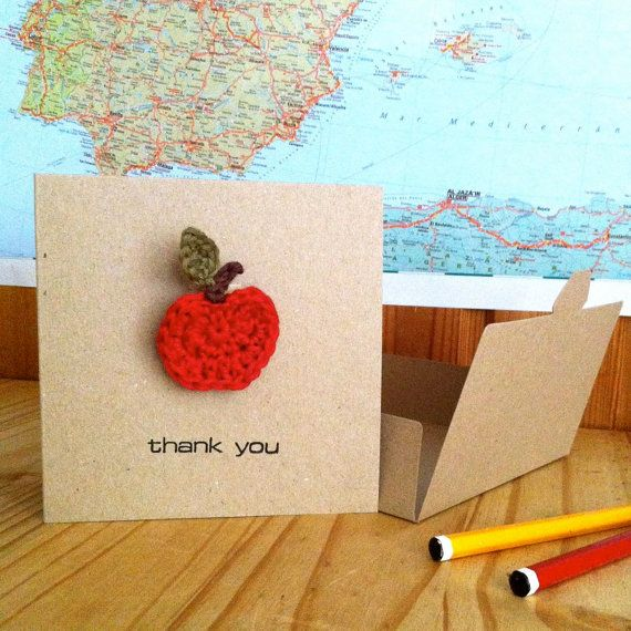 Teacher Thank you Card with Apple Brooch by LittleConkers on Etsy