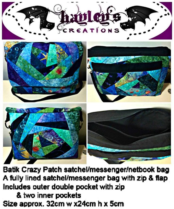Handmade by Hayley's Creations Batik Crazy Patch satchel/messenger/netbook bag