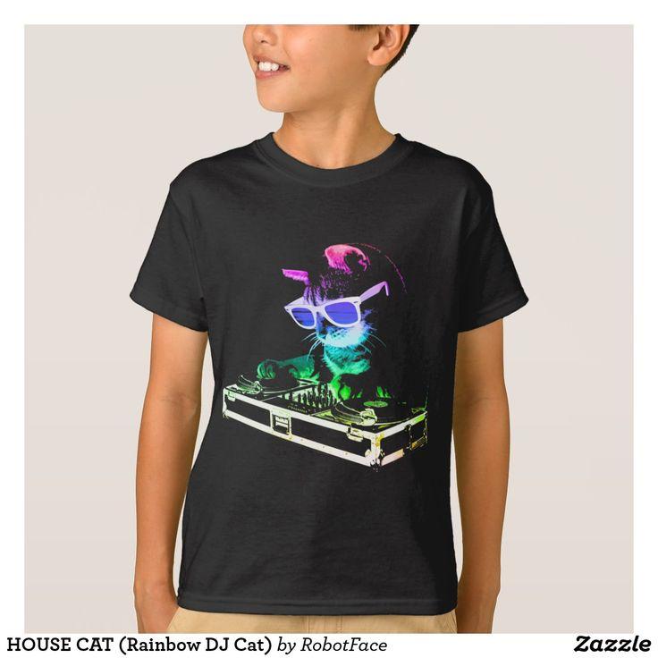 HOUSE CAT (Rainbow DJ Cat) T-Shirt #cat #DJ #shirt #fashion #apparel #clothes #wearable #animal #cute #fun