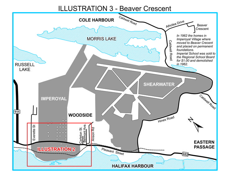 To make way for expansion of the Dartmouth Imperial Oil Refinery in 1962, the homes in Imperoyal Village were either moved five miles away to Beaver Crescent, Dartmouth or demolished.