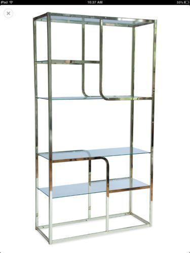 midcentury modern brass etagere milo baughman style shelf. Black Bedroom Furniture Sets. Home Design Ideas