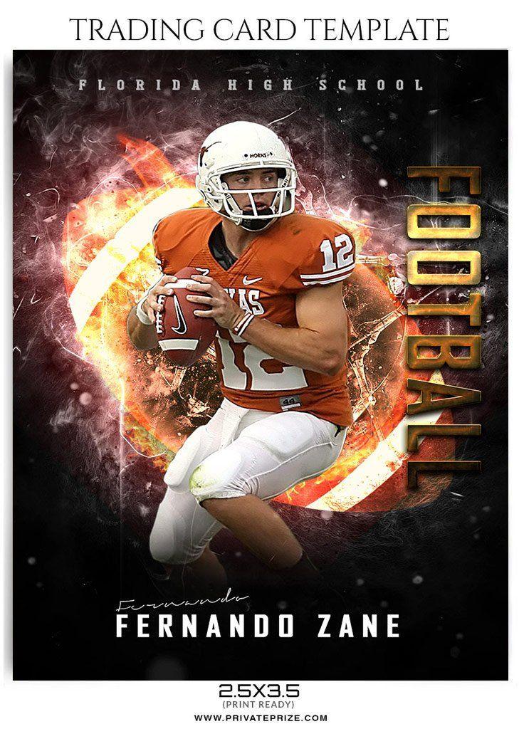 Fernando Zane Football Sports Trading Card Photoshop Template Trading Card Template Football Trading Cards Baseball Card Template