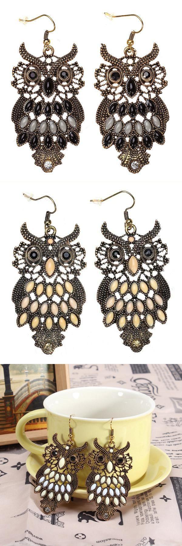 Colorful crystal hollow cartoon owl dangle drop earrings for women earrings under $5 #earrings #png #earrings #with #chain #earrings #with #screw #backs #w #brand #earrings