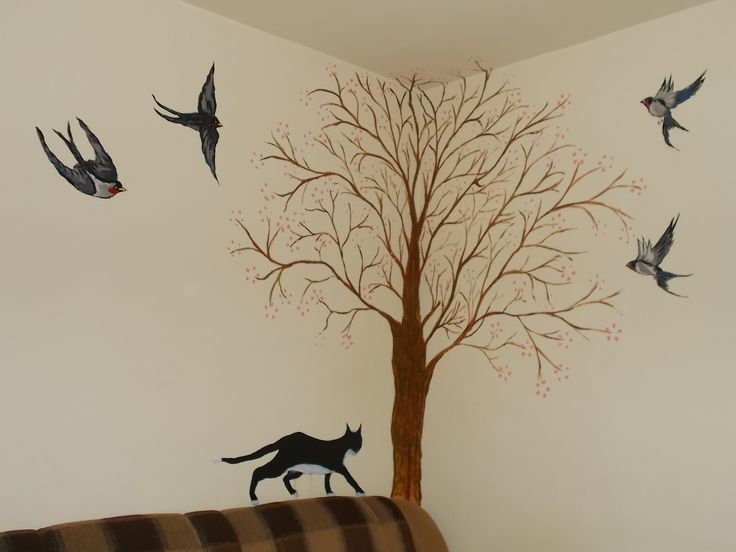 """Painted wall """"Tree, birds and the hunter!"""""""