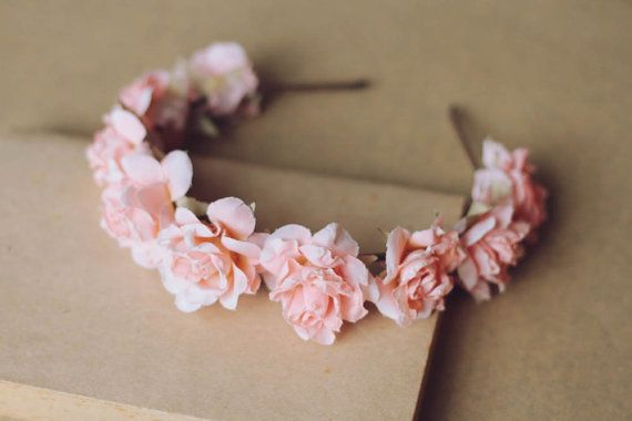 romantic pastel rose headband // pale pink  dainty by kisforkani, $35.00