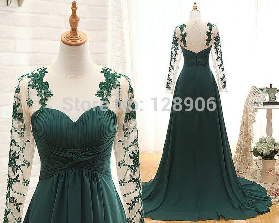 Sexy Emerald Green Evening Dress with Full Sleeves O Neck Lace Prom Dress Appliques Sheer Back Evening Gowns Formal Dress