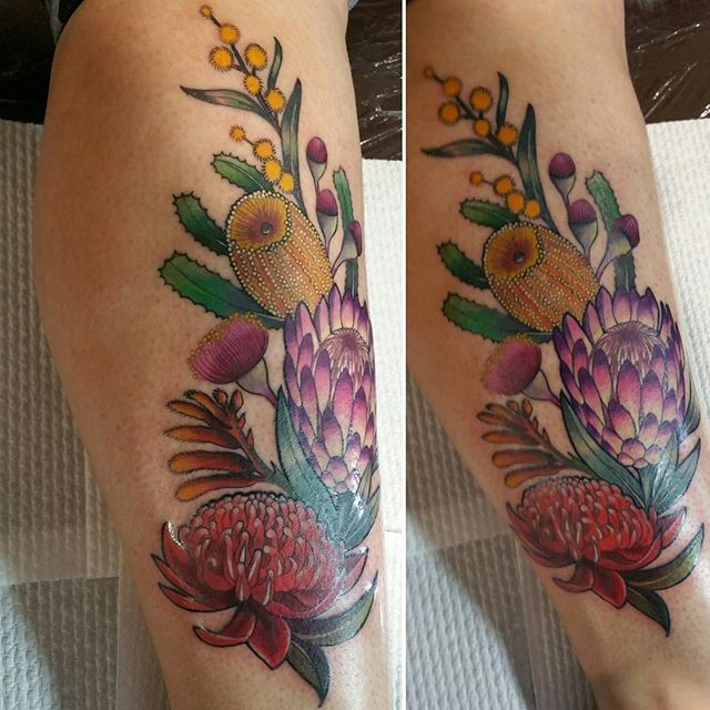 Australian floral piece for Trish.  #straya #botanicaltattoo #flowers | Brittany Kilsby Tattoo