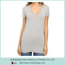 Cotton spandex blended material grey color long length ladies V neck t shirts Best seller follow this link http://shopingayo.space