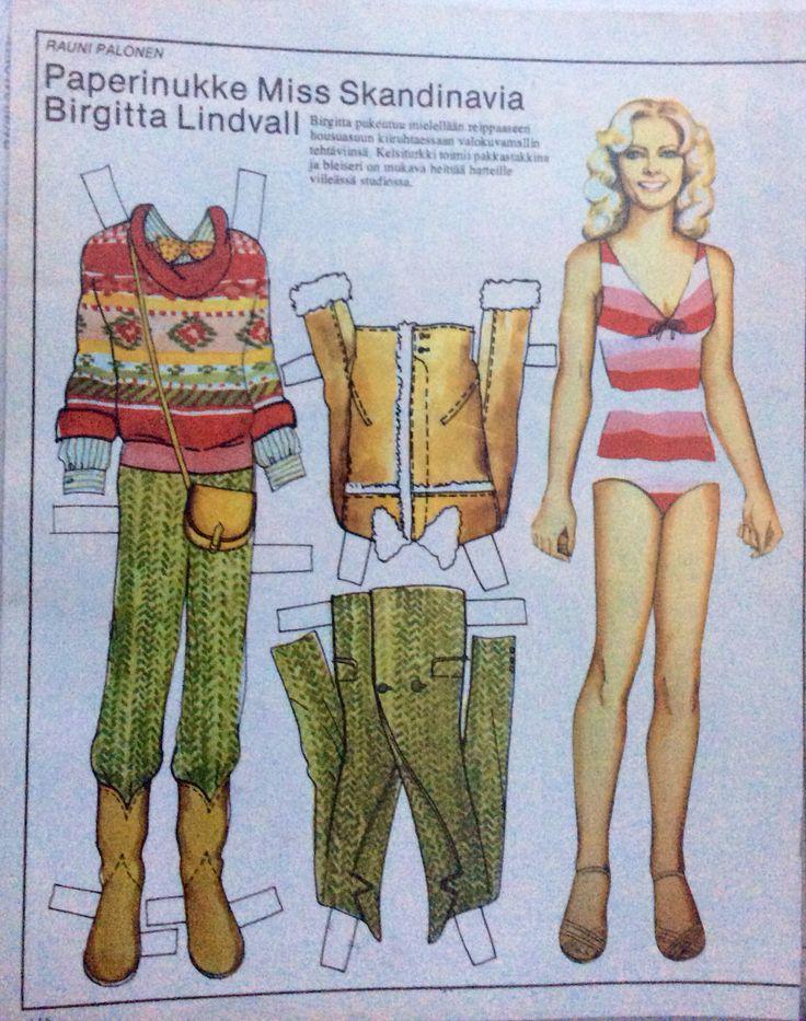 Paper doll Birgitta Lindvall from Sweden, miss Scandinavia 70's