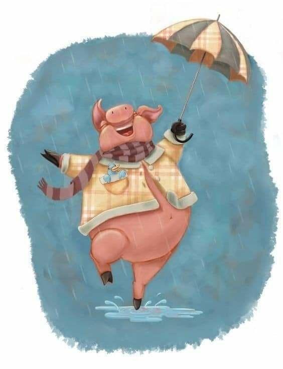 Прикольная свинья рисунки, днем