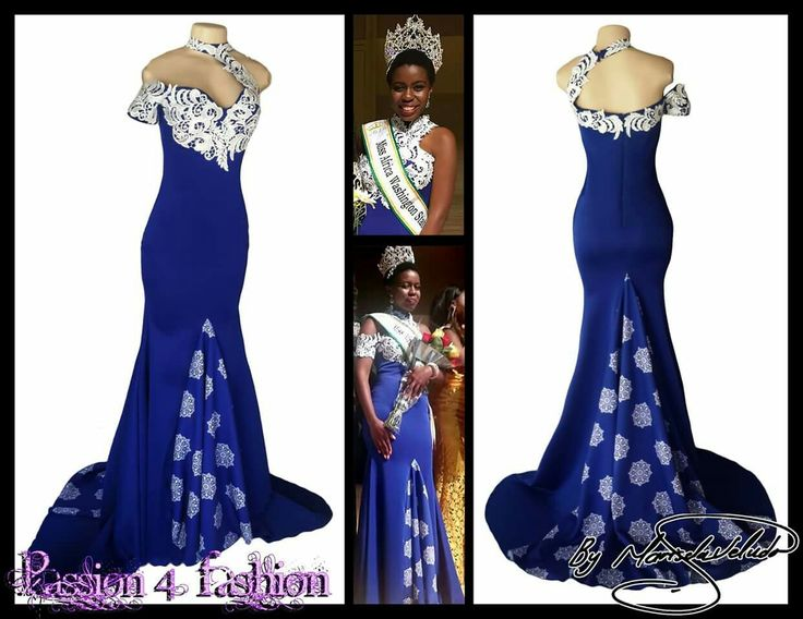Royal blue and white soft mermaid evening dress. With the back panel train and front panel in a custom print. Bust and choker neckline detailed with lace with a single cap sleeve. Dress for a beauty pageant and she was the winner of the event. Client from Zimbabwe. #mariselaveludo #fashion #eveningwear #lace #passion4fashion #pageantdress #softmermaid #matricdress