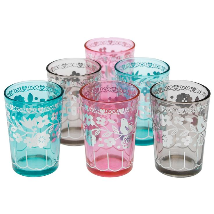 Coloured Asian inspired tea glasses, these make great tea light holders.  Perfect for weddings and celebrations by www.fuschiadesigns.co.uk £9.99 for 6 in turquoise, pink and grey.