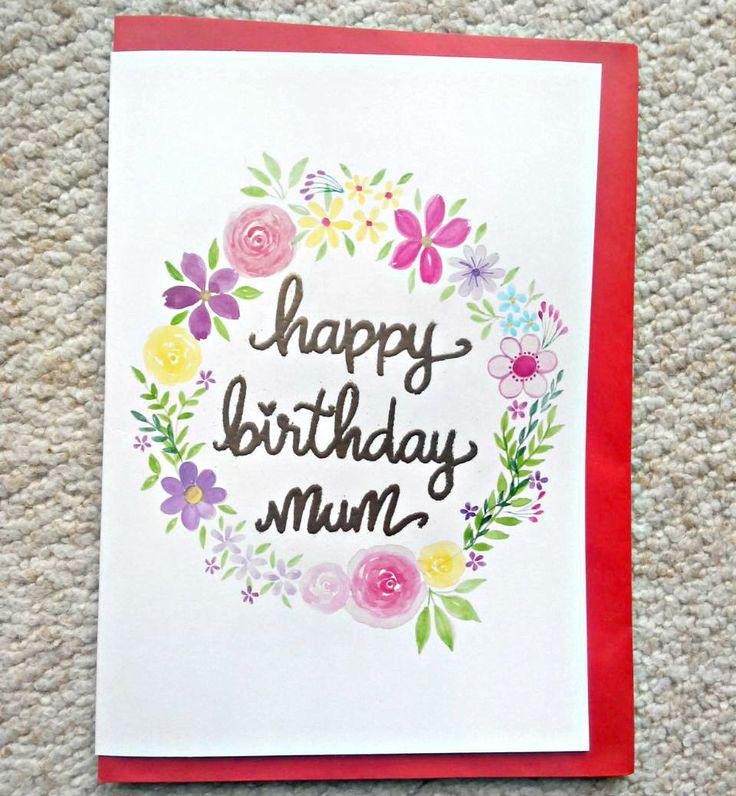 Happy Birthday Card. Handmade Birthday Card. Floral Birthday Card. Personalised Birthday Card. Handpainted Birthday Card. Watercolour by FlowersAndScribbles on Etsy