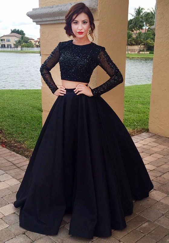 Chic Black Prom Dress - Jewel Long Sleeves Floor Length with Beading